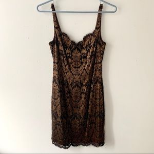 Cache Brown Sequined Silky Dress